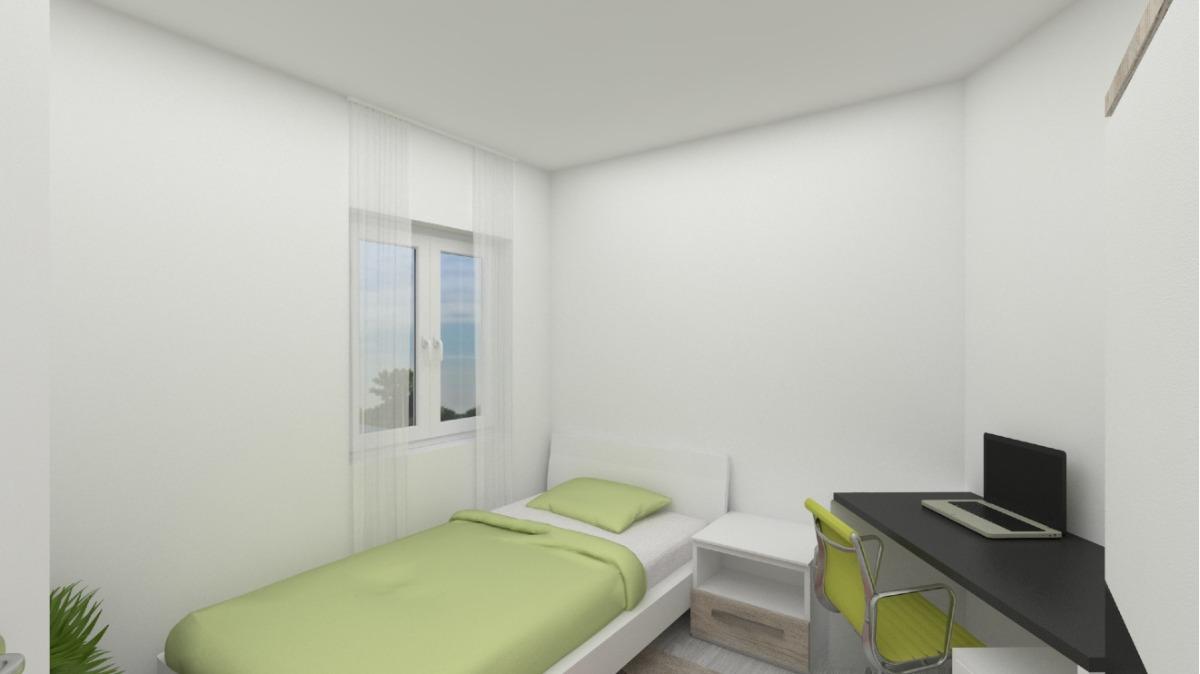 EG: Änderung Geschäftseinheit in Wohneinheit visualisiert da sanierungsbedürftig (Schlafzimmer)