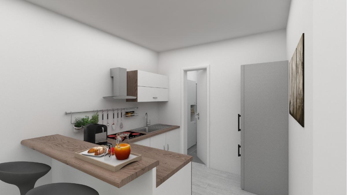 EG: Änderung Geschäftseinheit in Wohneinheit visualisiert da sanierungsbedürftig (Wohn- u. Küchenbereich)