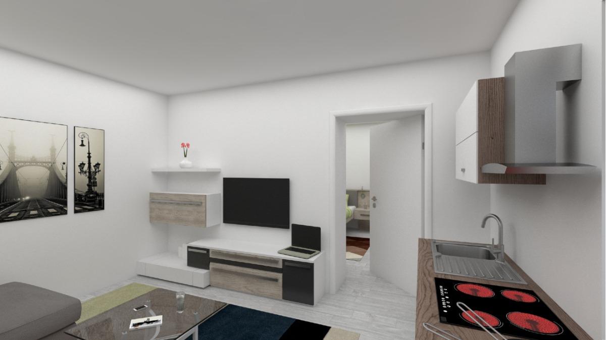 EG Wohnung 2: Wohnzimmer visualisiert (sanierungsbedürftig)