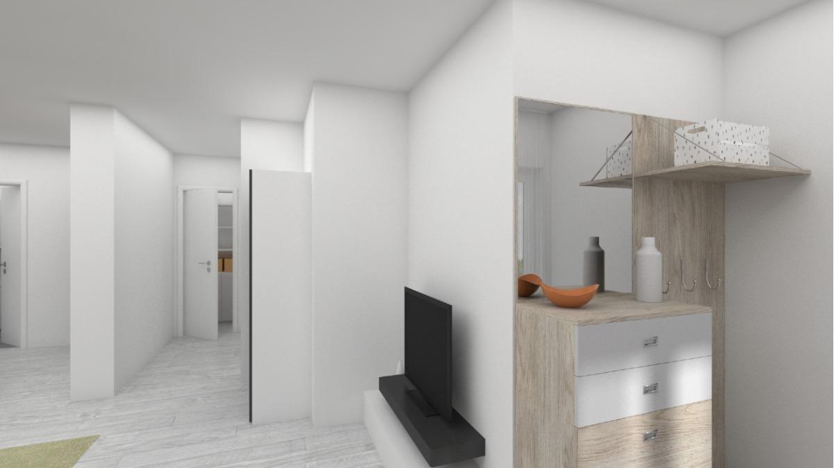 EG: Änderung Geschäftseinheit in Wohneinheit visualisiert da sanierungsbedürftig (Garderobe)