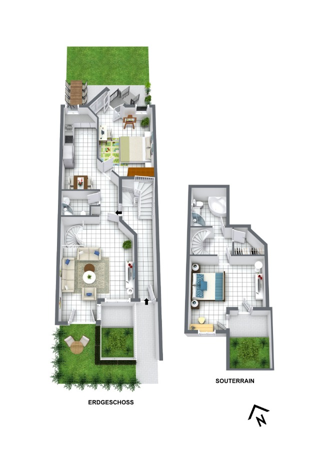 Grundriss Erdgeschoss und Souterrain