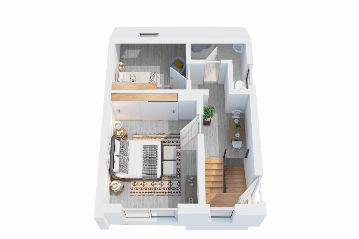 Obergeschoss mit projektierten Bad