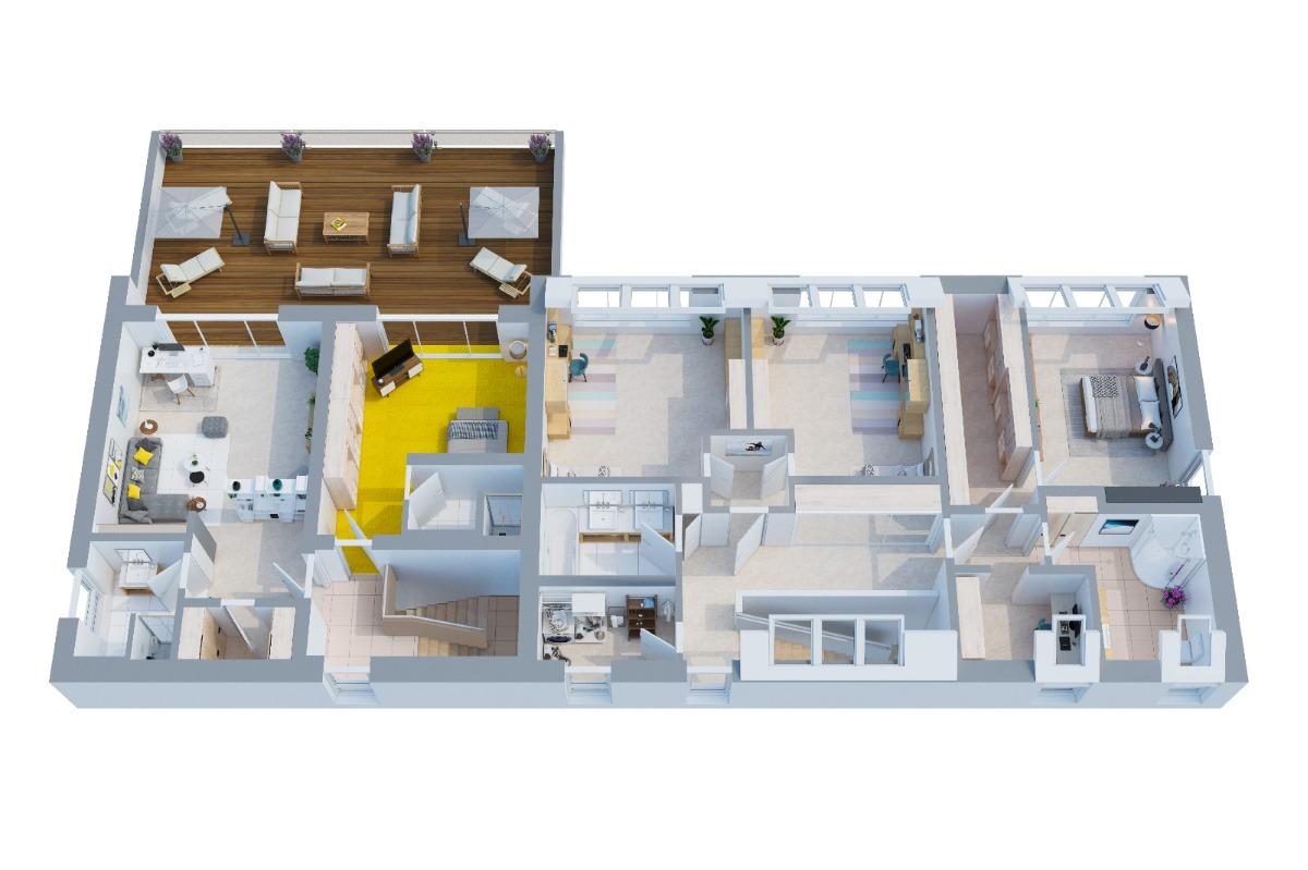 Obergeschoss mit großer Terrasse